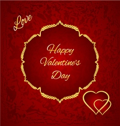 Happy Valentine day gilded hearts red background vector image vector image