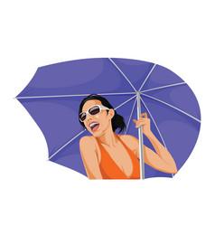 Happy woman holding an umbrella vector