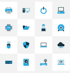Hardware colorful icons set collection of modem vector