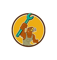 Hawk mechanic pipe spanner circle cartoon vector