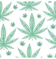 Hemp cannabis leaf seamless pattern vector