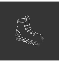 Hiking boot with crampons drawn in chalk icon vector