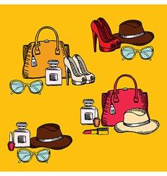 Hipster fashion set retro design vector