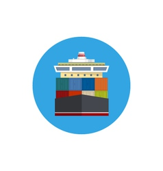 Icon cargo container ship vector