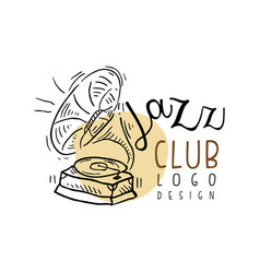 Jazz club logo design vintage music label with vector