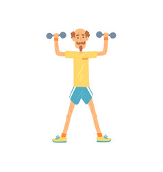 Old man character standing with feet hip-distance vector
