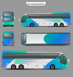 Realistic coach bus mockup back top view vector