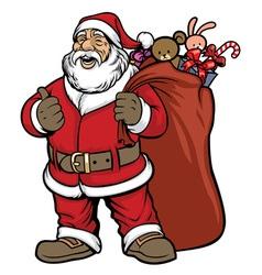 santa claus bring a bag full of gift vector image vector image
