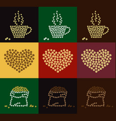 Set of coffee bean in coffee cup heart and bale vector