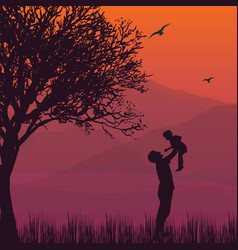 Silhouette dad hold up baby son in the air vector