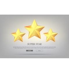Super stars three golden stars silver background vector