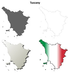 Tuscany blank detailed outline map set vector