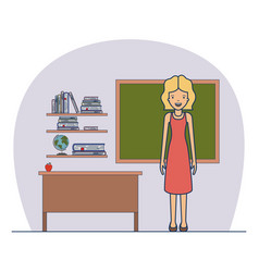 woman teacher in dress on classroom with wooden vector image vector image