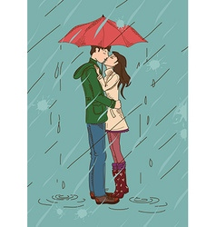 Young couple kissing under an umbrella vector image