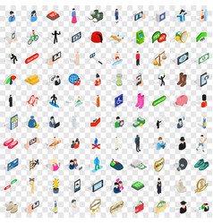 100 people icons set isometric 3d style vector image vector image