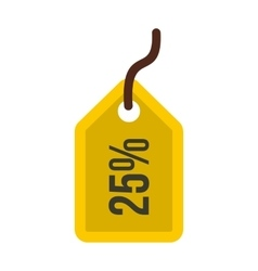 Yellow price tag 25 percent icon flat style vector