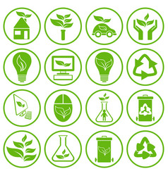 set of sixteen ecology icons vector image