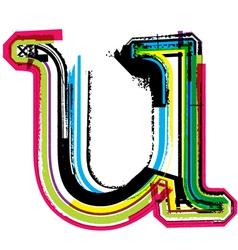 Grunge colorful font Letter u vector image