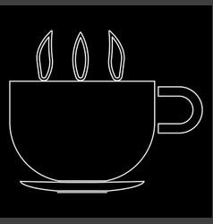 Cup with hot tea or coffee the white path icon vector