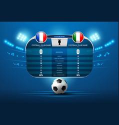Soccer football with scoreboard and spotlight vector