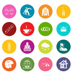 Snowboarding icons many colors set vector