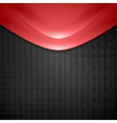 Abstract red waves design Tech background vector image