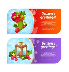 Christmas congratulation banners vector