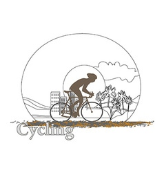 Cycling man silhouette doodle poster vector