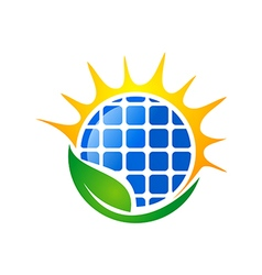 eco solar energy logo vector image