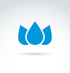 Blue crown created from three water drops ecology vector