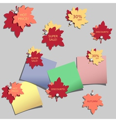 Stickers with autumn leaves vector