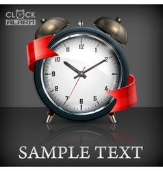 Retro alarm clock  ribbon vector