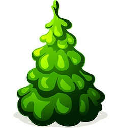Green christmas tree isolated on white background vector