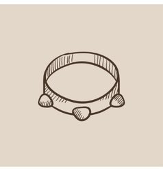 Tambourine sketch icon vector