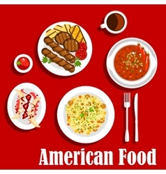 American dinner with grilled meat and chilli icon vector