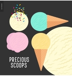 Few ice cream scoops on a dark background vector