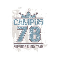 Campus rugby team emblem vector