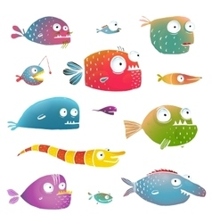 Cartoon Fish Collection for Kids Design vector image vector image
