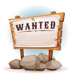 cartoon wood sign with wanted on torn paper vector image