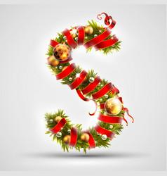 christmas font letter s of christmas tree vector image vector image