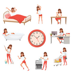 Cute young girl in different situations day time vector