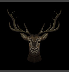 Deer face embroidery for fashion design wearing vector