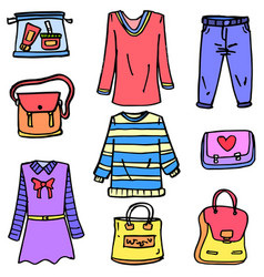 Doodle of clothes set for women vector