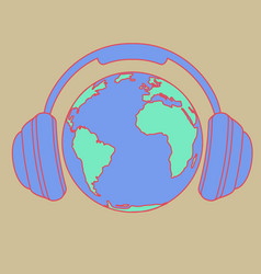 earth with headphones vector image vector image