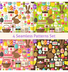 Four flat happy easter holiday seamless patterns vector