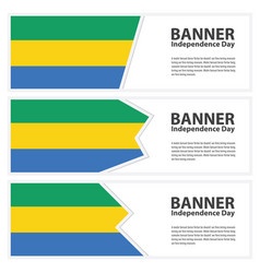 gabon flag banners collection independence day vector image