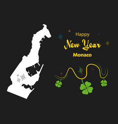 Happy new year theme with map of monaco vector