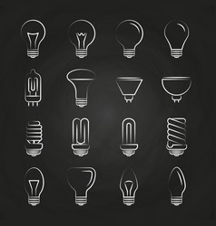 Light bulbs hand drawn icons on chalkboard vector