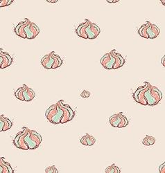 meringue dessert Hand drawn sketch on pink vector image vector image