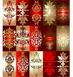 red gold various elements ornament vector image vector image